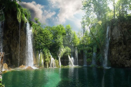[Premade Background] Waterfalls by Rowye
