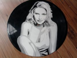 Scarlett Johansson on vinyl record by vantidus