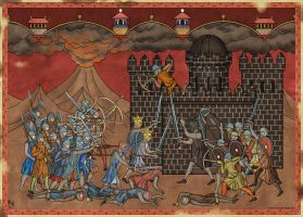 Isildur and Elendil fighting Sauron by Sapiento