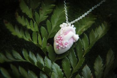 White polymer clay sakura anatomical heart by Krinna