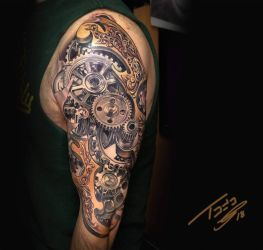 steampunk gear tattoo  by TodoArtist