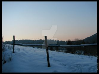 snowy fence by MidMad