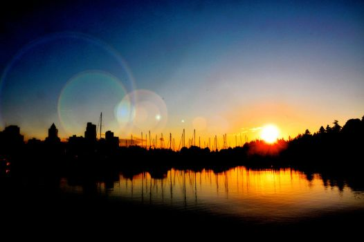 Sunset at Vancouver, Canada by veryberrypeachy