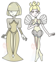Cream and Biwa Pearl by cat-noises