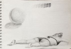 Academic drawing training - woman on the beach by Pumais