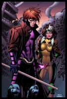 Gambit and Rogue by Oliver Nome colored by Dany-Morales