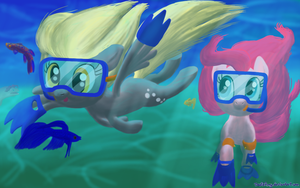 Happy Derpy Underwater Magics by DeathPwny