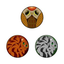 Designer jewelry set cat and owl by Jonas-D