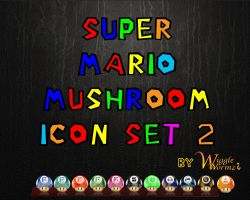 Super Mario Mushroom Icons 2 by Wigglewormz