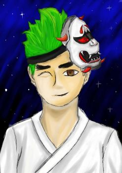 Young Genji with oni mask by Chibimelissa