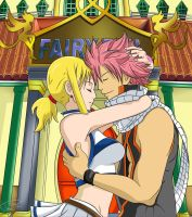 Natsu and Lucy by PouicA
