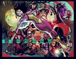 Spider Woman and the Avengers by HaphazardMachine