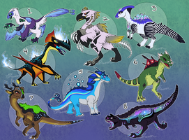Fantasy Dinosaur Adoptables - CLOSED by AbsoluteDream