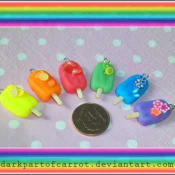 Polymer Clay Popsicles by DarkPartOfCarrot