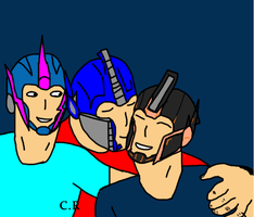 Optimus and Arcee with their Girl by celtakerthebest