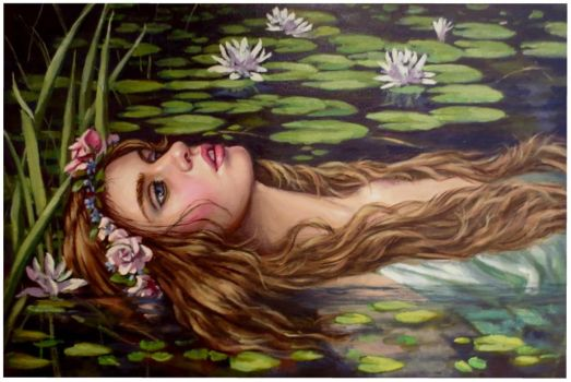 Ophelia..oil paint on linen canvas by xxaihxx