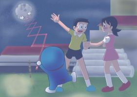 Doraemon - You want the moon? by Wlack