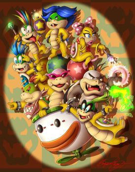 Bowser Jr. and the Koopalings by faynster