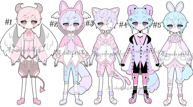 Sweet kemonomini adoptable batch open by AS-Adoptables