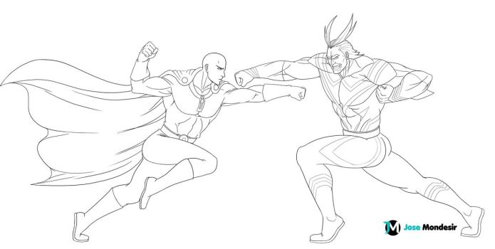 Saitama vs All Might by JoseMondesir