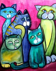 Colorful Cats in Portrait 5 by jempavia