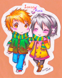 Chibi Ichigo and Rukia by IraDiotic
