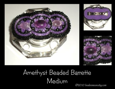 Amethyst Beaded Barrette by Healersmoon