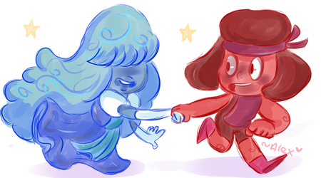 Ruby and Sapphire by chibiirose