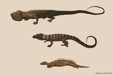 Restoration of Mantell and Scharf dinosaurs (1833) by Szymoonio