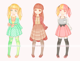 [SALE] Adopts Set Price -OPEN- Plated skirt girls by KristinaHlopec