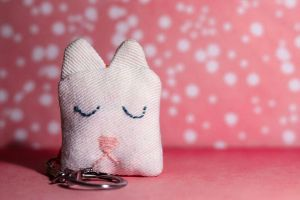 Valentine's Cat Keychain from Old Jeans by LualaDy