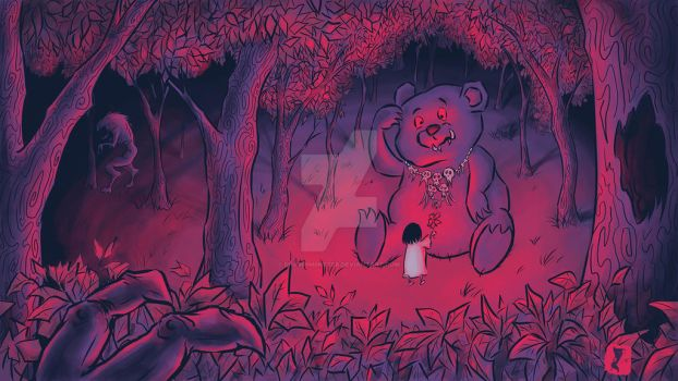 Scary Forest-1: Girl and Bear by DrawnM0nster