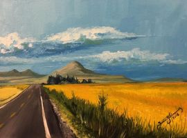 Yellow Fields - Oil on Canvas - 9x12 by tadamson