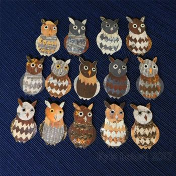 Paper Collage Owl Pins by Kyle lefort by Kyle-Lefort