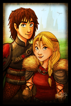 Hiccup and Astrid by Merina-Sky