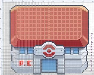 Pokemon Center Cross Stitch Chart by BunBunK
