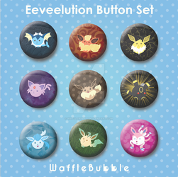 Eeveelution Button Set by wafflebubble