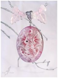 Hatchling lunar  dragon - stone painting necklace by AlviaAlcedo