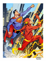 Flash and Supes race by tofuthebold