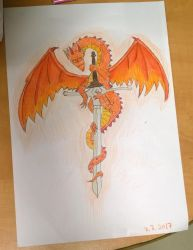 Red dragon and sword. by Shantifiy