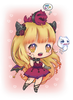 [CLOSED] Halloween Chibi Demon by CloverWing