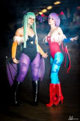 Darkstalkers Morrigan and Lilith by JwaiDesign