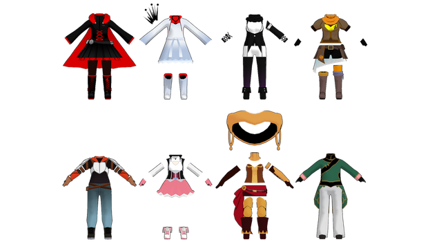 MMD  Chibi Team RWBY and JNPR Outfits DL by 2234083174