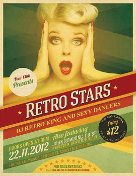 Cool Retro Party Flyer by hugoo13