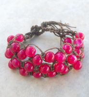 Pink and Brown Hemp Bracelet by tiranaki