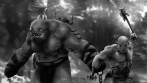 Azog the Defiler and Giant Troll fan art by jaicoralde