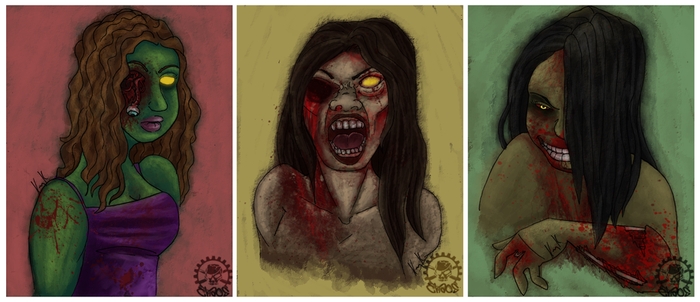 zombie triptych by thechaosproject