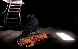 Crow and eating zombie hand by Angelii-D