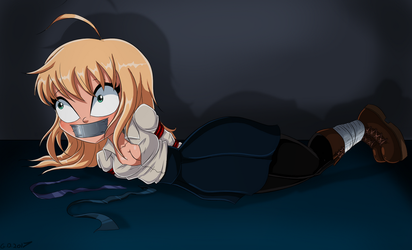 Saber Bound and Gagged 2 -Commission by gaggeddude32