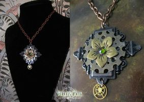 Steampunk Flower Necklace by Firefly-Path